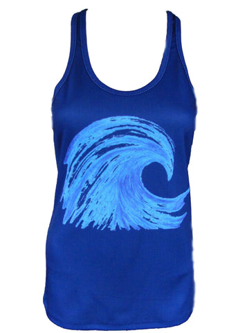 """Wave"" Performance Racerback Tank - Navy"