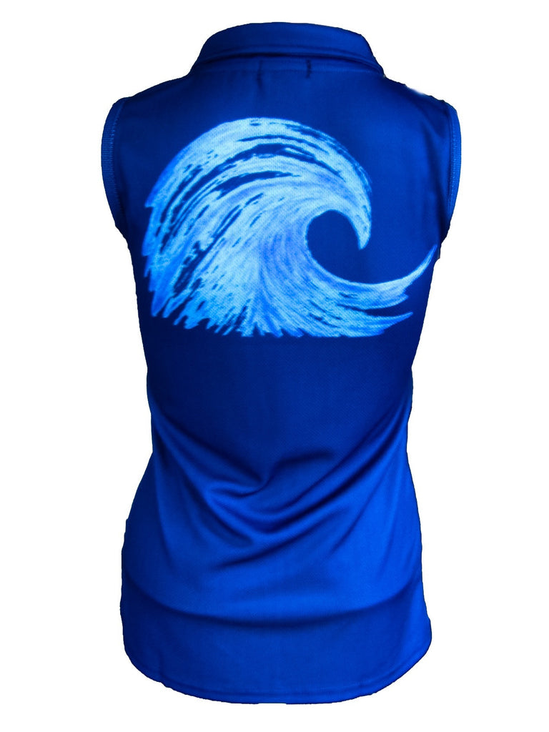 """Wave"" Girls Sleeveless Performance Polo - navy"