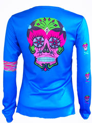 "NEW ""Happy Skull"" performance long sleeve - blue"
