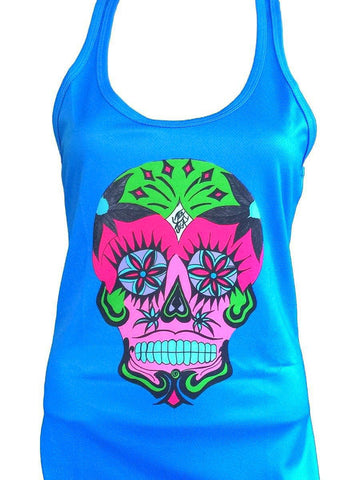 "NEW ""Happy Skull"" performance racerback tank - blue"