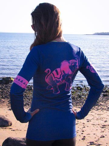 """Trunks Up"" Performance Long Sleeve - Navy/hot pink"
