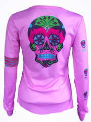 "NEW ""Happy Skull"" performance long sleeve - pink"