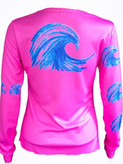 """Wave"" performance  long sleeve - hot pink"