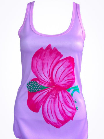 "NEW ""Hibiscus"" performance racerback tank"