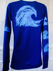 """Blue Wave"" Performance long sleeve- Navy"