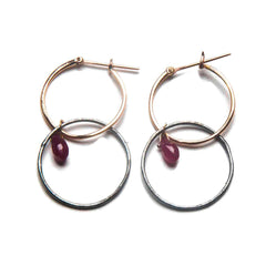 18K Rose Gold / Oxidized Silver / Ruby