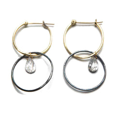 18K Yellow Gold / Oxidized Silver / Diamond Briolette