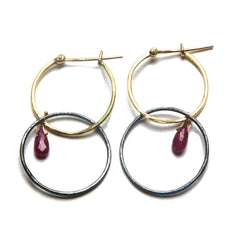 18K Yellow Gold / Oxidized Silver / Ruby