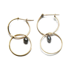 18K Yellow Gold / Black Tahitian Pearl