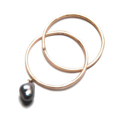 18K Rose Gold / Black Tahitian Pearl