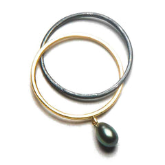 18K Yellow Gold / Oxidized Silver / Black Tahitian Pearl