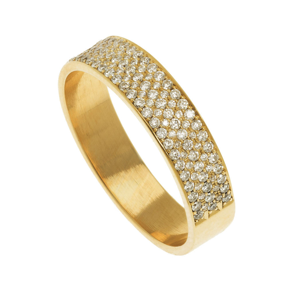 Diamond Pave Wide Flat Ring