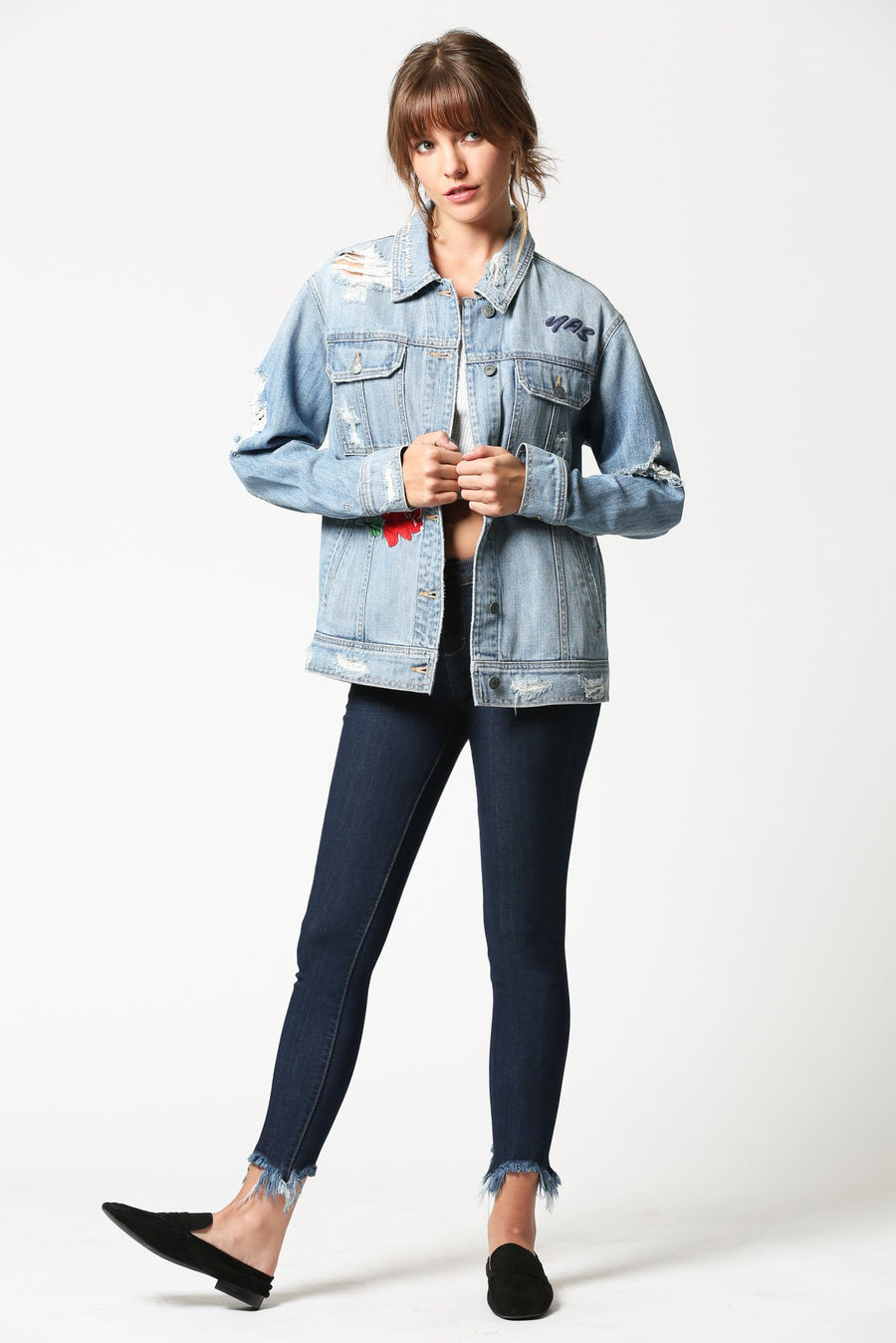 REBEL <p/> Oversized Ripped Denim Jacket with Embroidery
