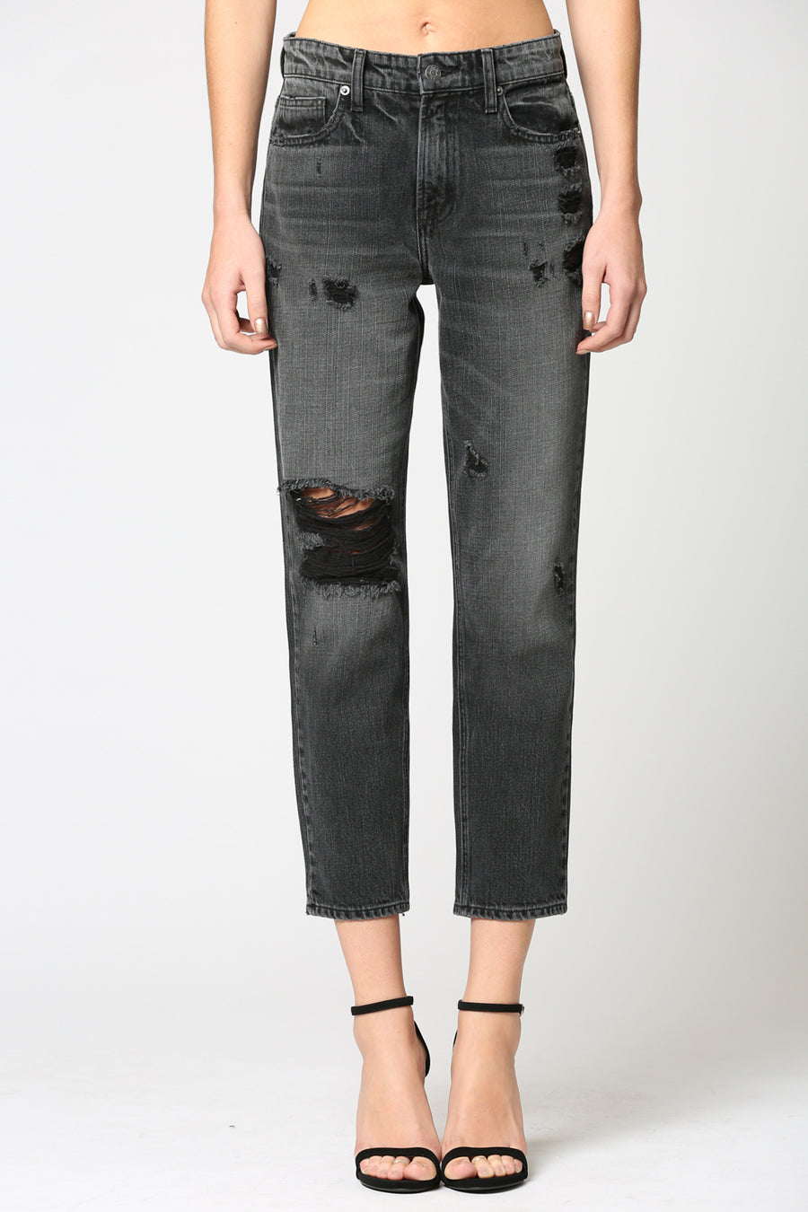 BAILEY<p/> VINTAGE BLACK DISTRESSED SLIM BOYFRIEND