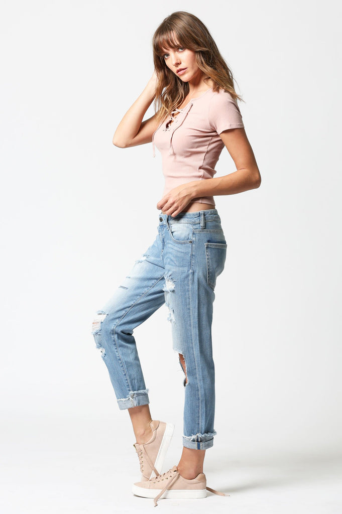 BAILEY <p/> Medium Wash Distressed Repaired Pocket Slim Boyfriend