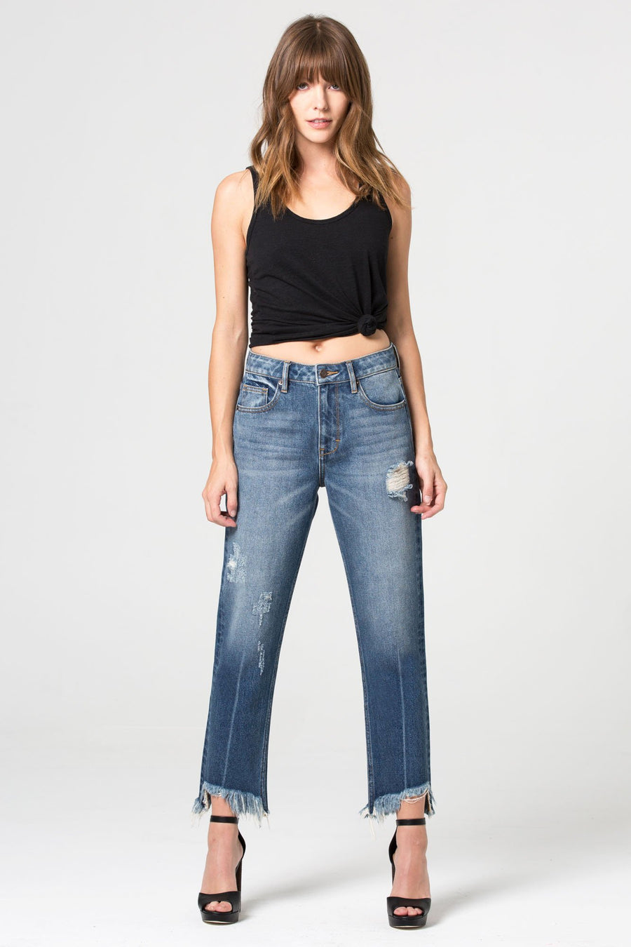 TRACEY <p/> Medium Wash Frayed High Rise Straight Crop