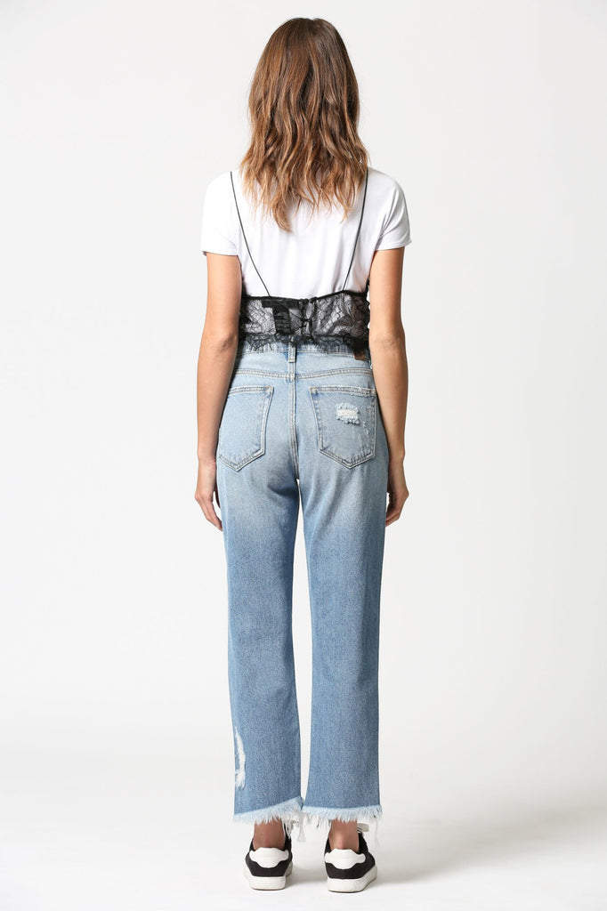 TRACEY <p/> Medium Wash Frayed Hem Straight Crop
