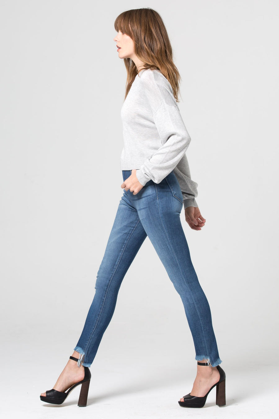 TAYLOR <p/> High Rise Medium Wash Skinny with Step Hems