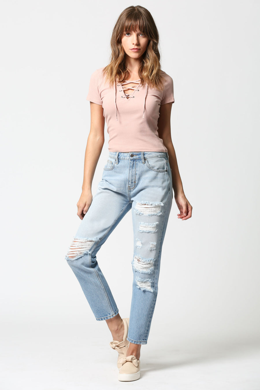 ZOEY <p> Vintage Distressed Slim Mom