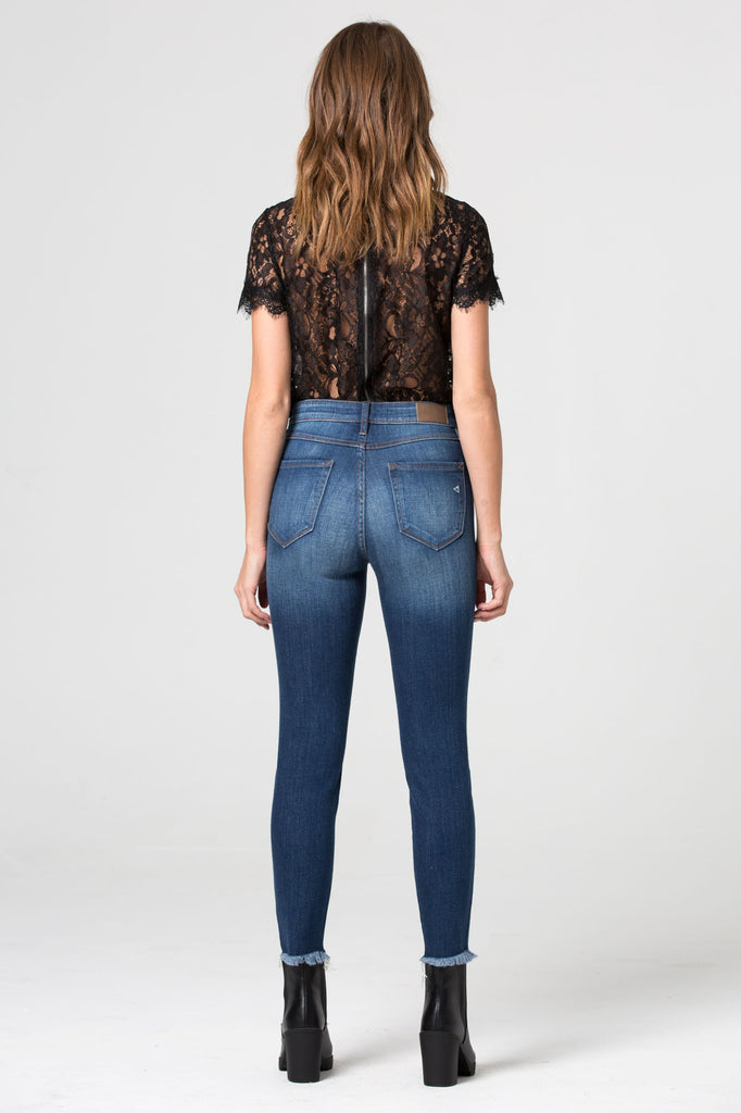 TAYLOR <p/> High Rise Fray Hem Cropped Skinny