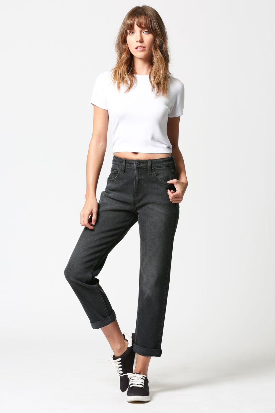 TRACEY <p/> Black Cuffed High Rise Straight Crop