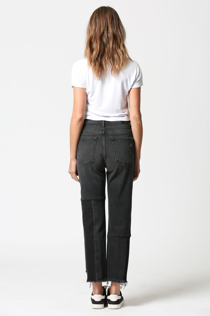 TRACEY <p/> Black Two Tone Repaired High Rise Straight Crop