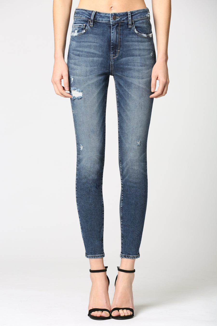 TAYLOR <p/>SUPER DARK WASH HIGH RISE SKINNY WITH GRINDING