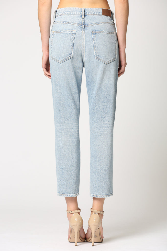 TRACEY <p/> LIGHT WASH DISTRESSED HIGH WAIST STRAIGHT JEAN