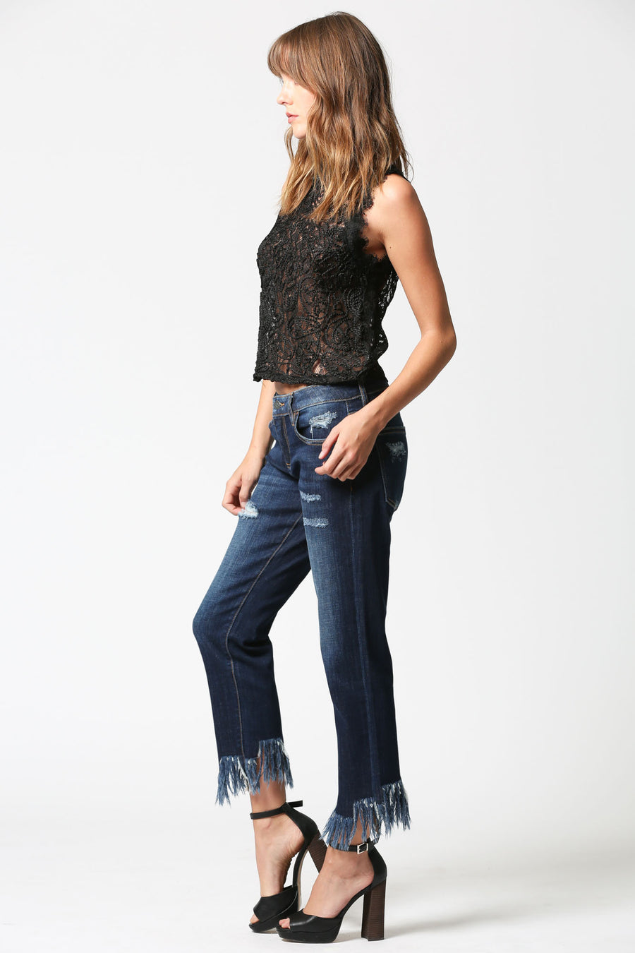 BAILEY <p/> Dark Wash Extreme Frayed Hem Slim Boyfriend