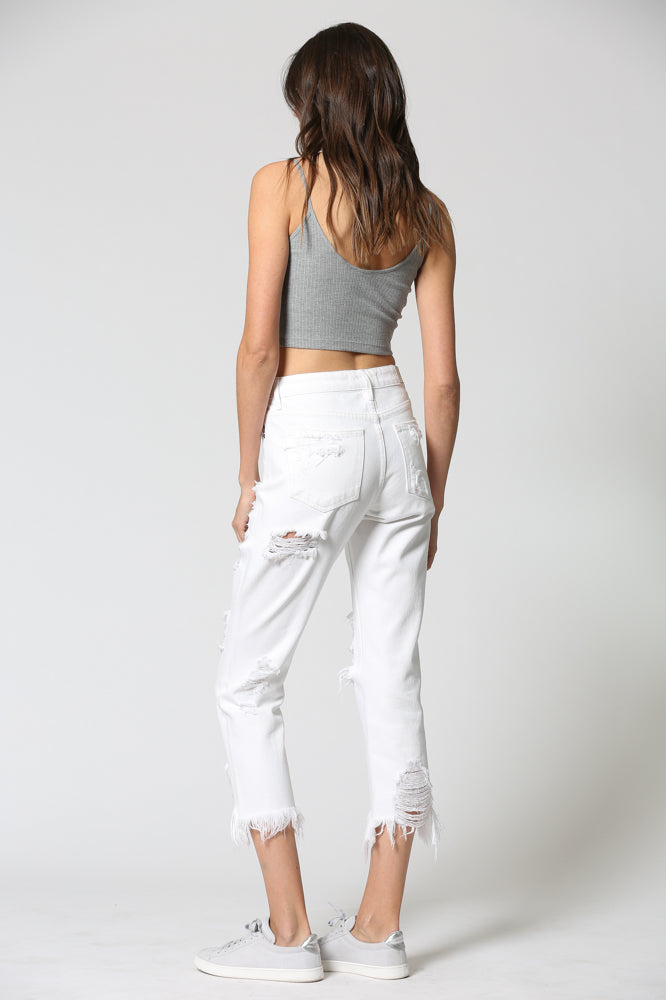 ZOEY <p> White Distressed Mom Jean