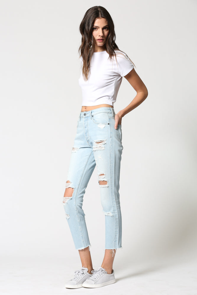 TAYLOR <p/> Super Light Wash Distressed High Rise Skinny