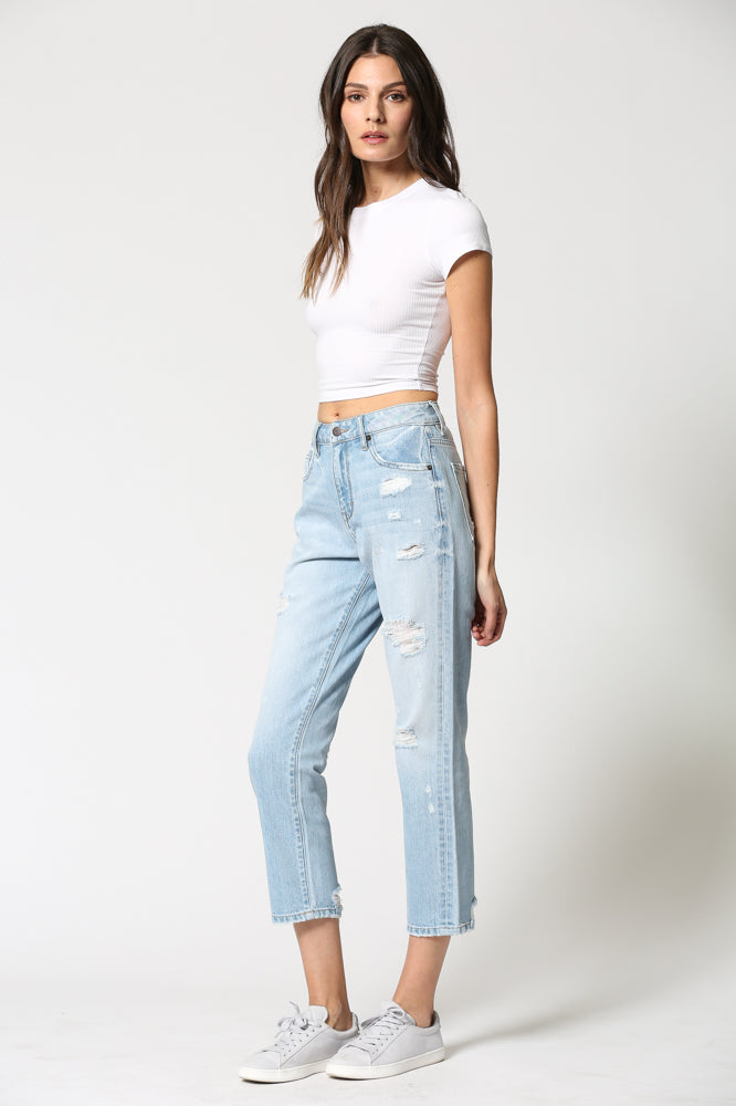 TRACEY <p/> Light Wash High Rise Distressed Straight Crop