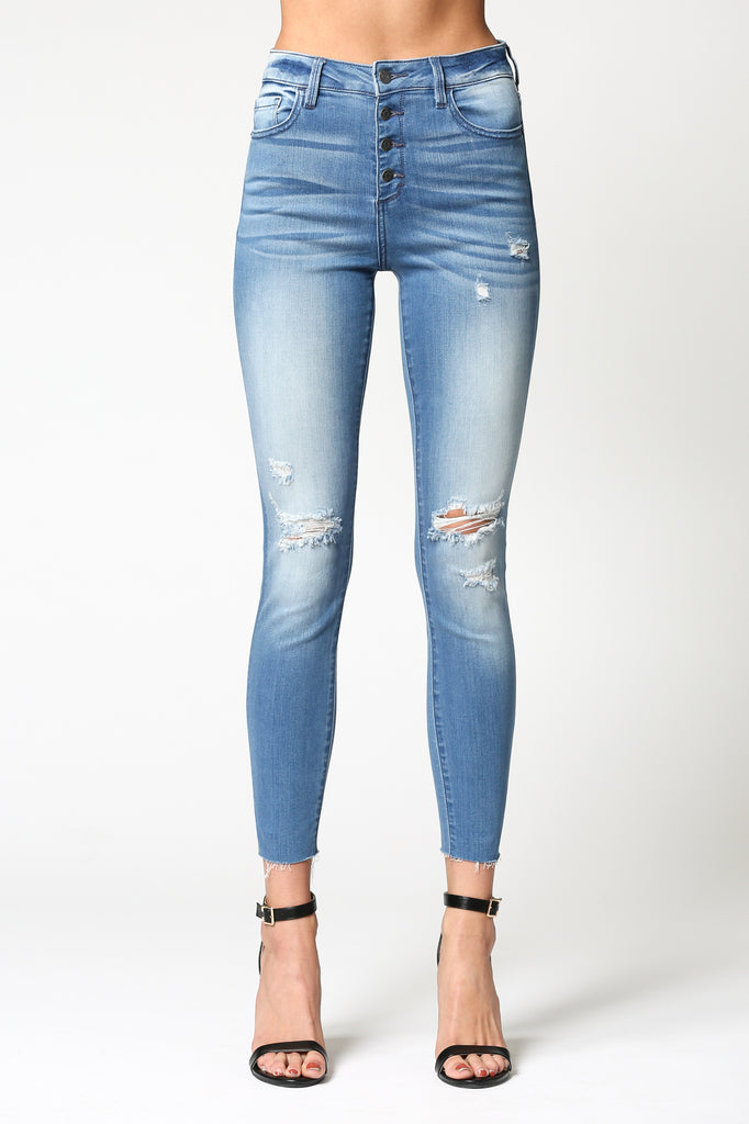 TAYLOR <p/> MEDIUM WASH FOUR BUTTON HIGH RISE SKINNY