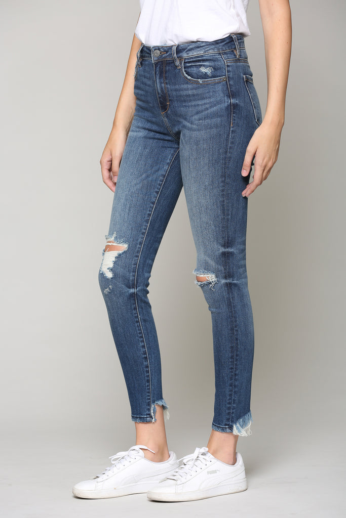 TAYLOR <p/> DARK WASH DISTRESSED HIGH RISE SKINNY