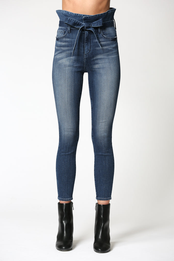 TAYLOR<p/> DARK WASH HIGH RISE PAPERBAG SKINNY