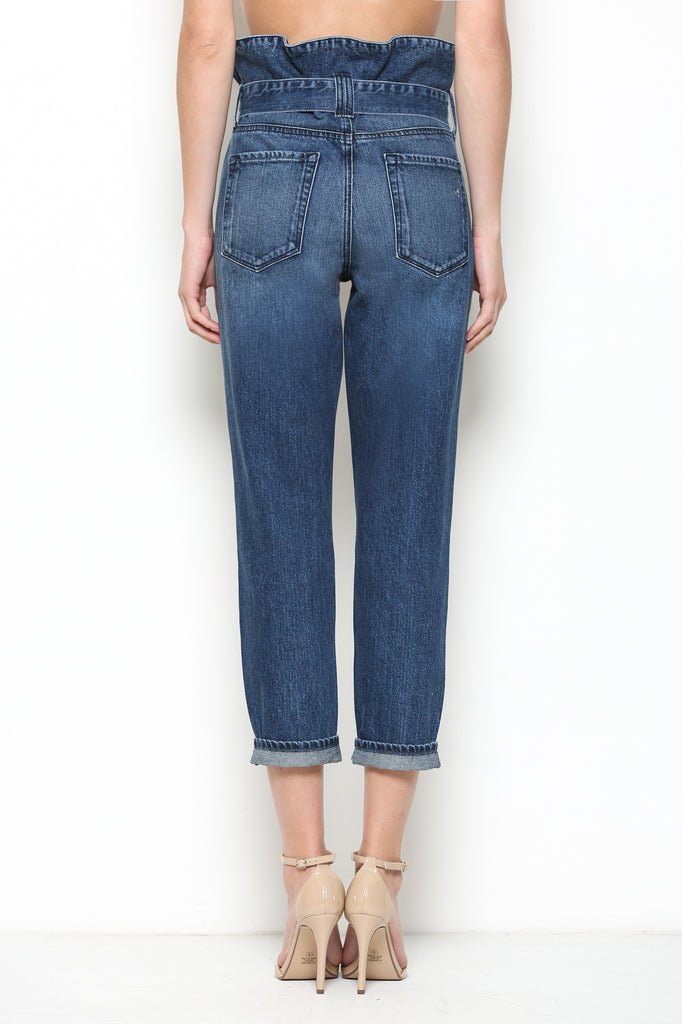 ZOEY <p/> DARK WASH HIGH RISE PAPERBAG MOM JEANS
