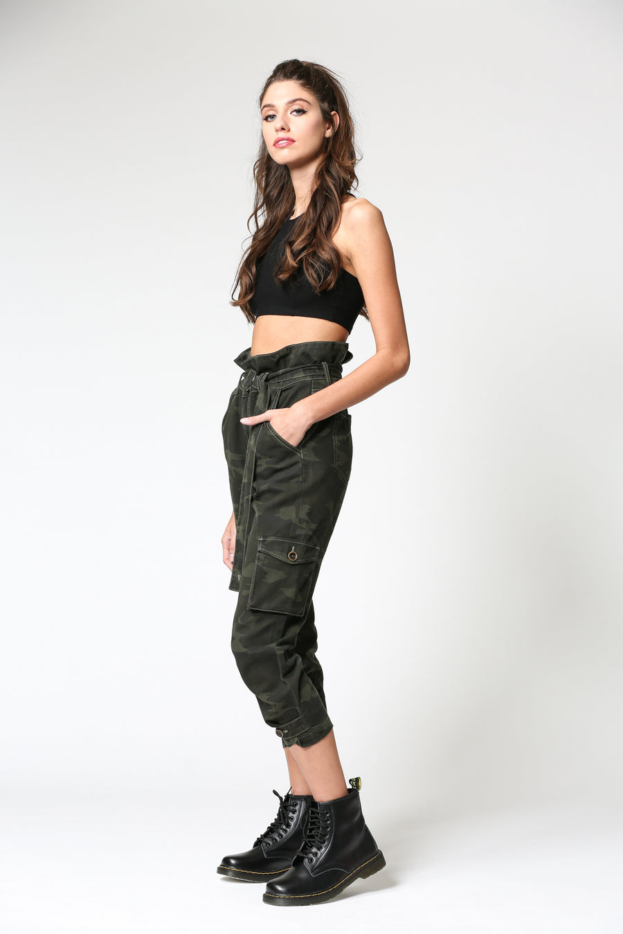 ZOEY <p/> DARK CAMO HIGH RISE PAPERBAG MOM JEANS