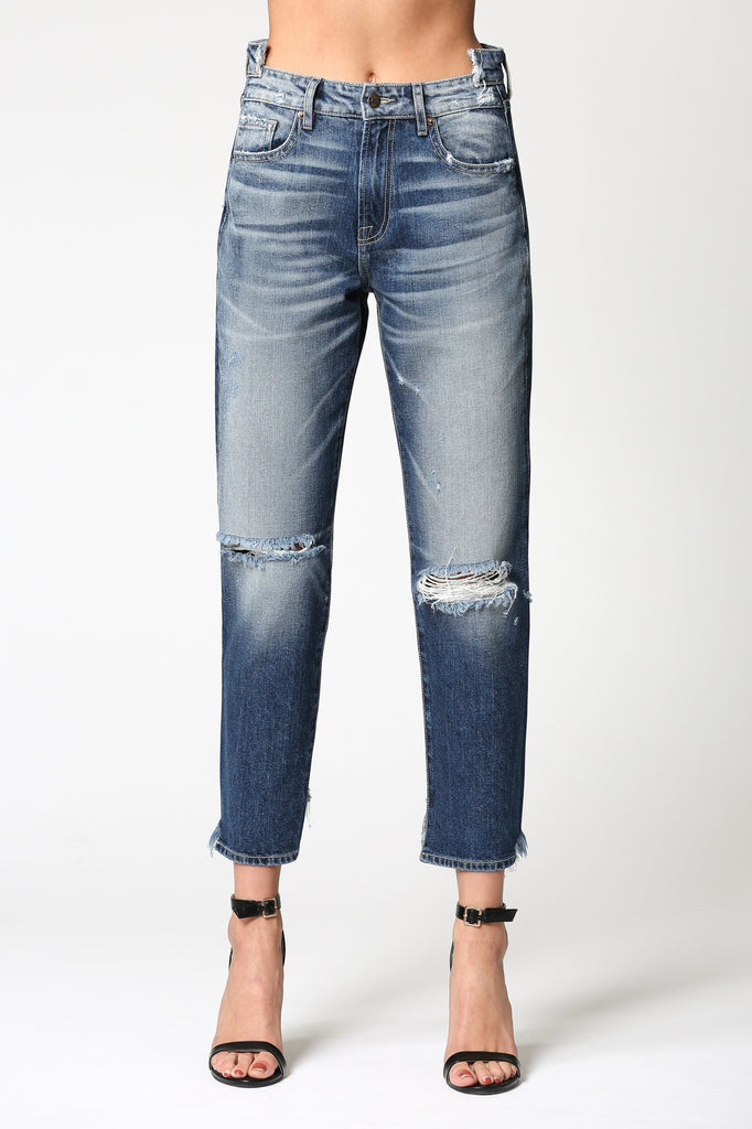 TRACEY <p/> DARK WASH HIGH RISE STRAIGHT CROP
