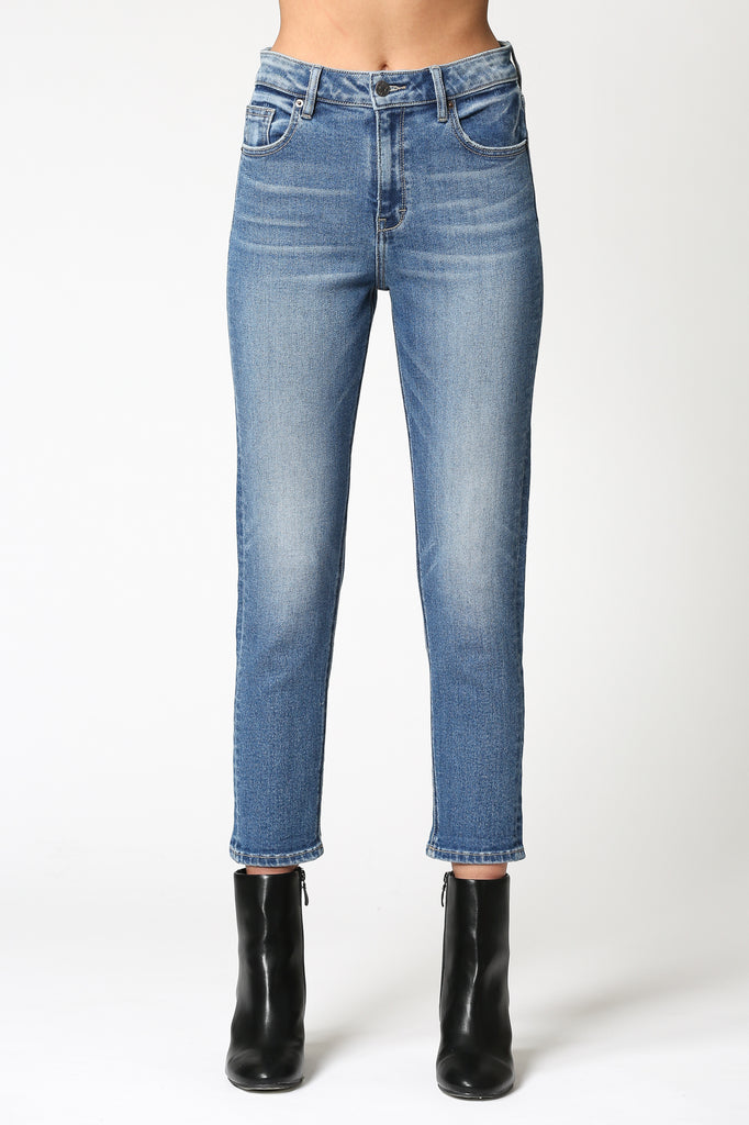 ZOEY <p/> DARK WASH STRETCH SLIM MOM