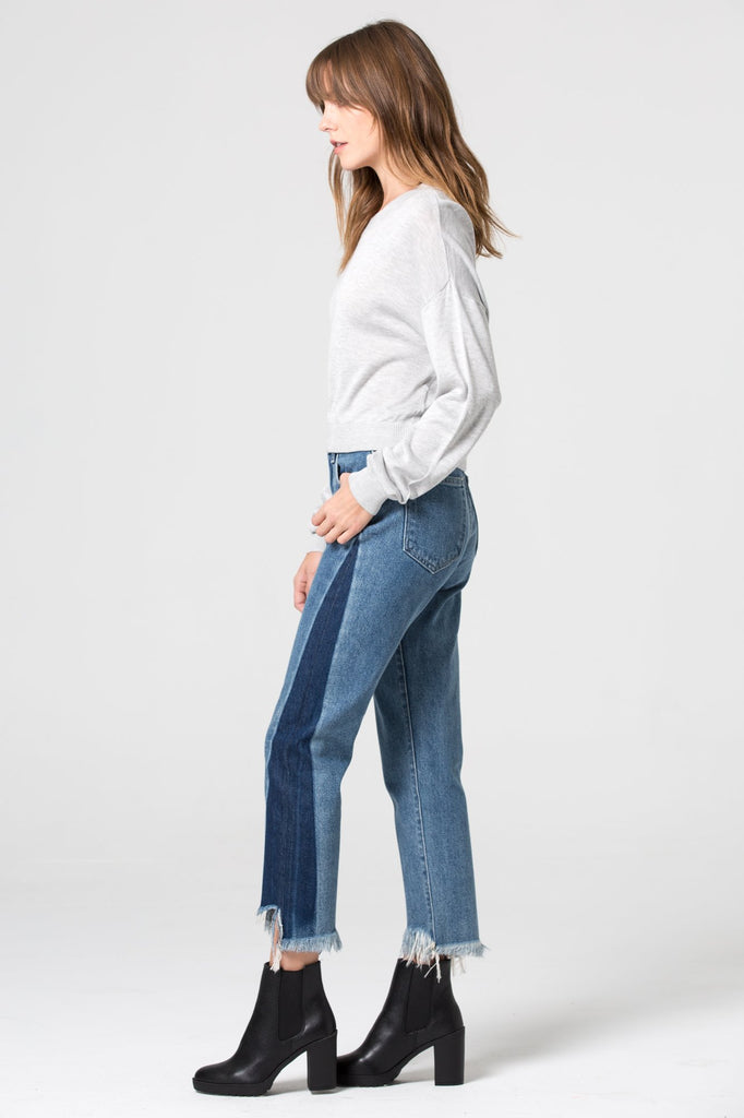 TRACEY <p/> Two Tone Frayed Hem High Rise Straight Crop