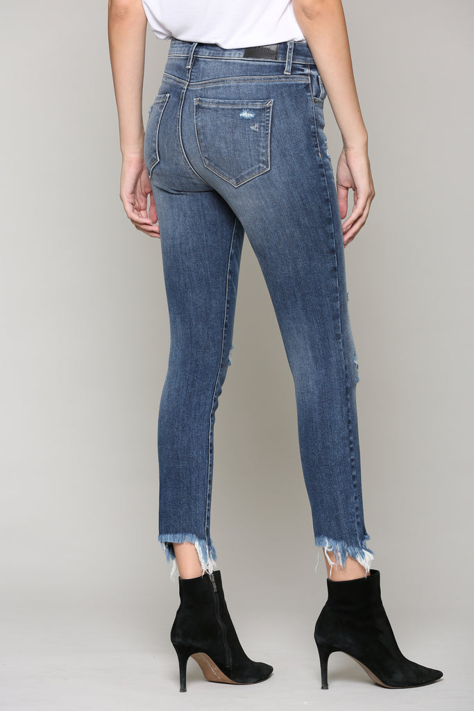 TAYLOR <p/> DARK WASH HIGH RISE DISTRESSED SKINNY