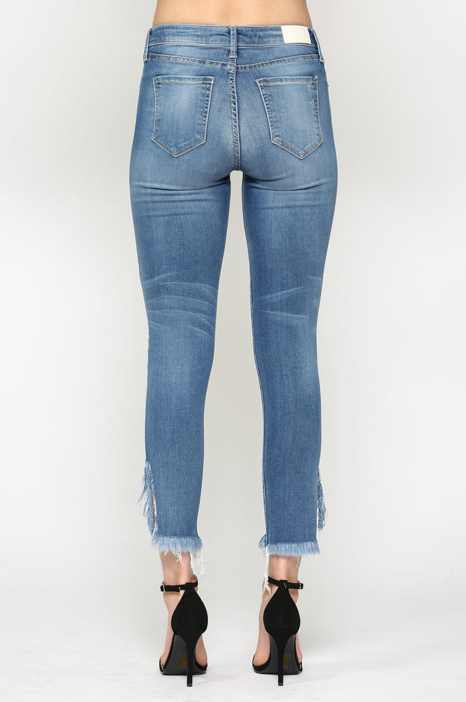 TAYLOR <p/> MEDIUM WASH HIGH RISE SKINNY