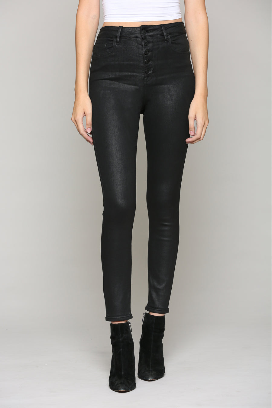 TAYLOR <p/> FIVE BUTTON COATED HIGH RISE SKINNY