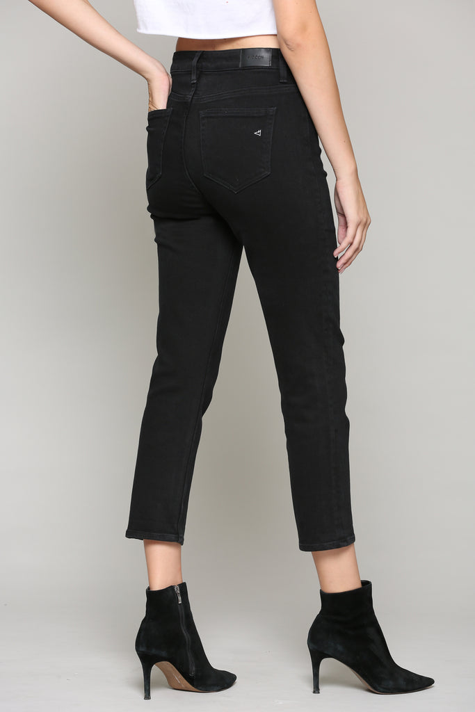 ZOEY <p/> JET BLACK WASH SLIM MOM JEAN