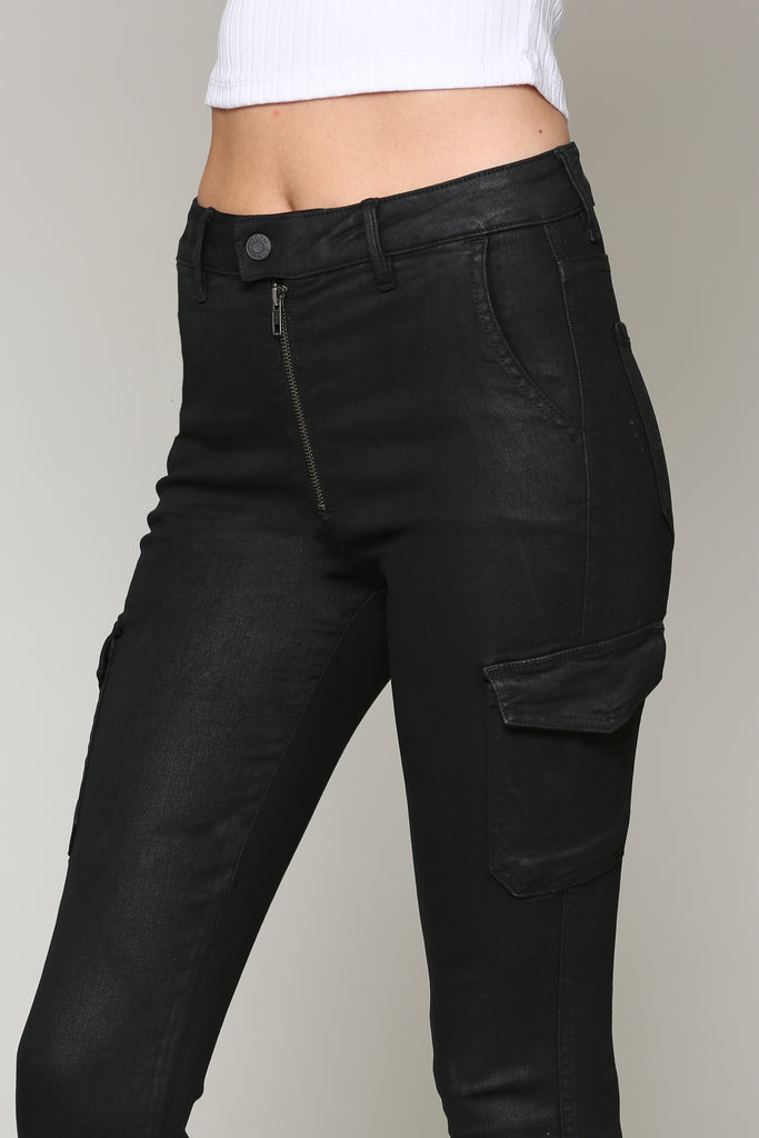 TAYLOR <p/> COATED CARGO POCKET HIGH RISE SKINNY