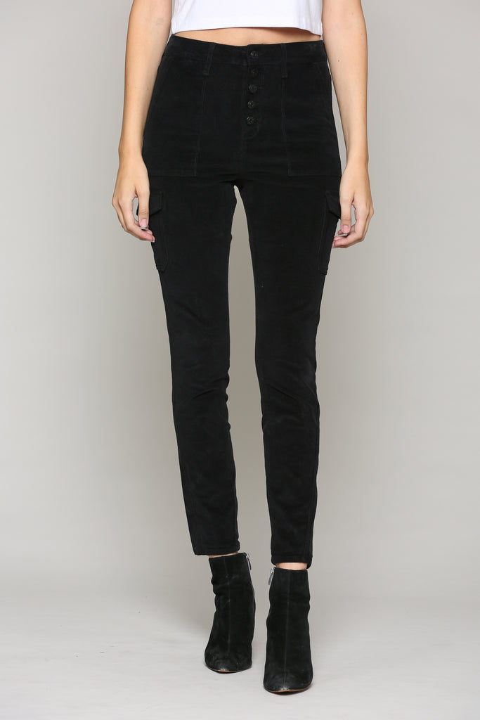 TAYLOR <p/> BLACK CORDUROY EXPOSED BUTTON SKINNY