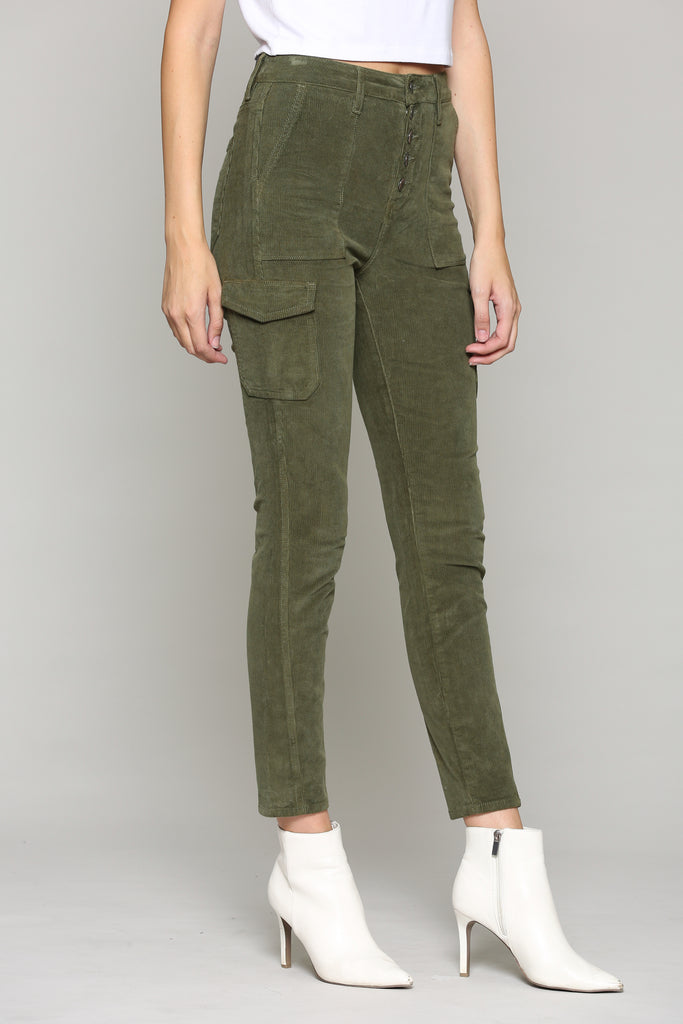 TAYLOR <p/> OLIVE CORDUROY EXPOSED BUTTON SKINNY