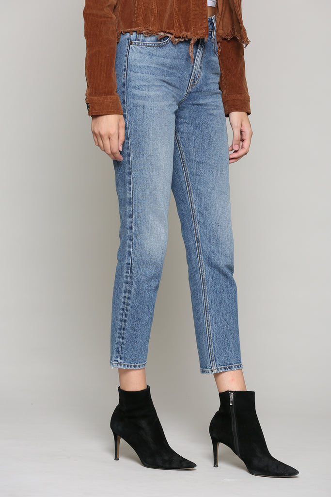 ZOEY <p/> MEDIUM WASH HIGH RISE SLIM MOM JEAN