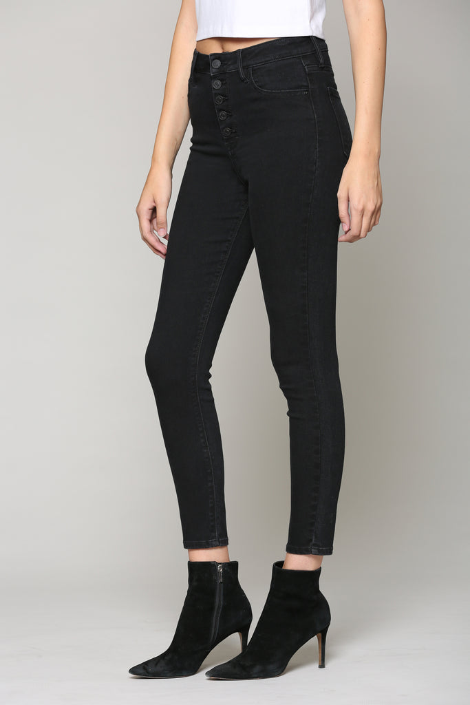 TAYLOR <p/> BLACK WASH HIGH RISE FIVE BUTTON SKINNY