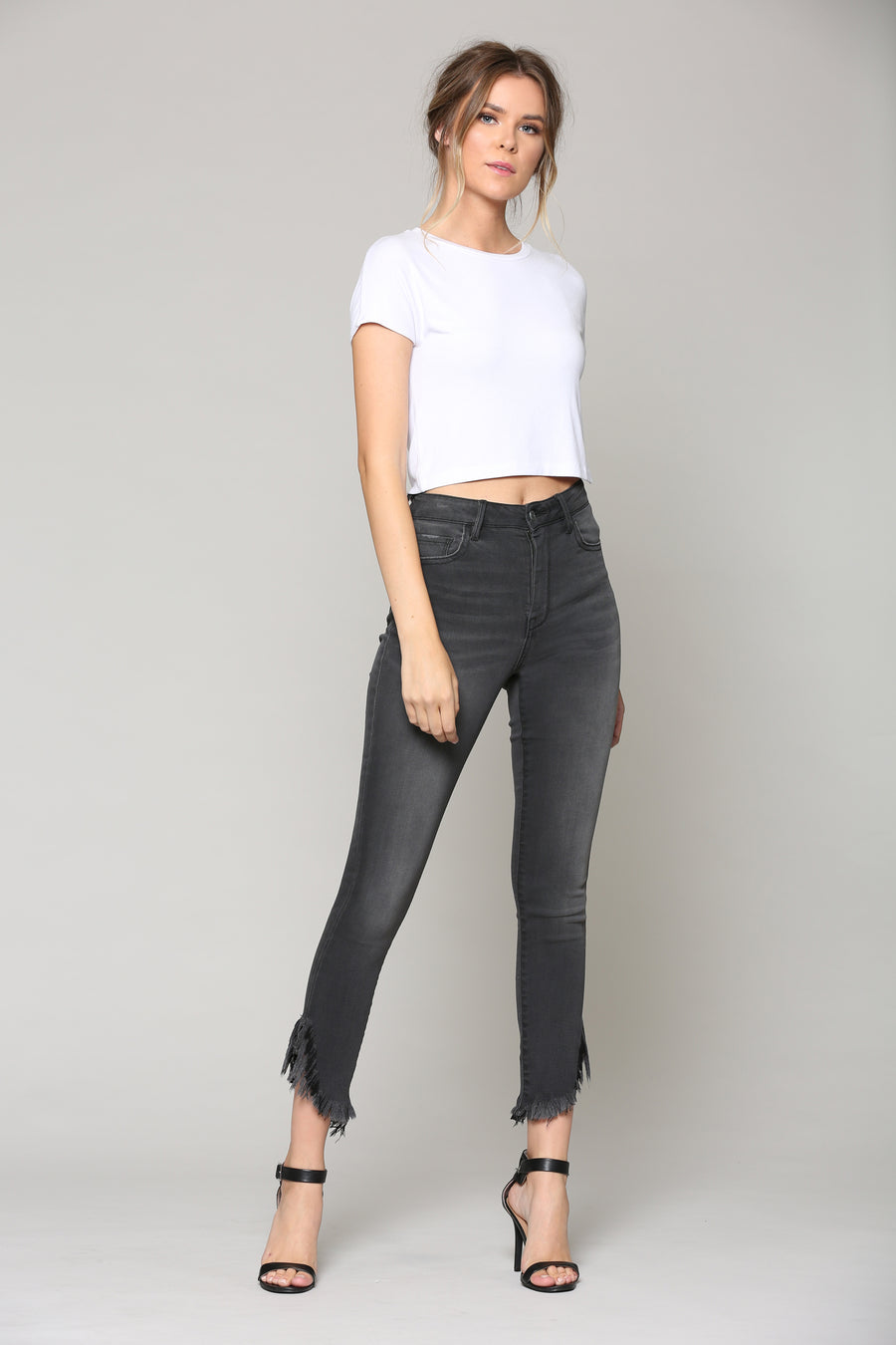 TAYLOR <p/> GREY HIGH RISE FRAYED SKINNY